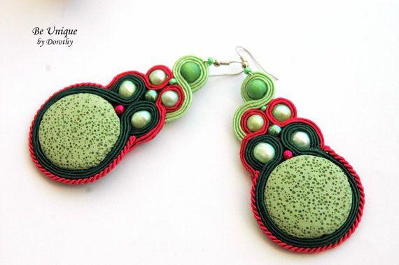 SOUTACHE EARRINGS/Soutache Jewelry/Perls/Green Lava Rock Gemstone/Handmade Earrings/Gift Ideas/CHRISTMAS gift/earrings/soutache