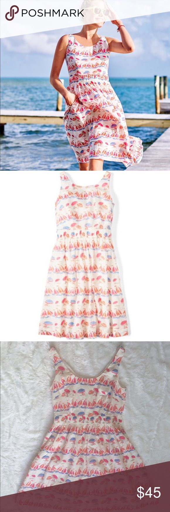 Boden Hattie Dress Adorable beach and sailboat print dress from Boden. Perfect for the beach or a tea party. Elastic waist and a zipper in the back. In great used condition. Make me an offer. Discount on bundles of two or more. Boden Dresses Midi