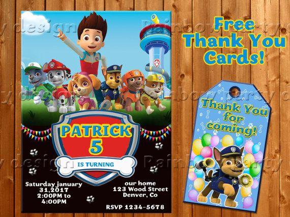 Paw Patrol invitation  thank you Paw patrol birthday