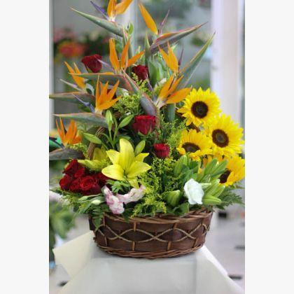 Μεγάλη σύνθεση λουλουδιών σε καλάθι με ηλιοτρόπια, κόκκινα τριαντάφυλλα, στερλίτσιες (πουλιά του παραδείσου), λίλιουμ και πρασινάδες.