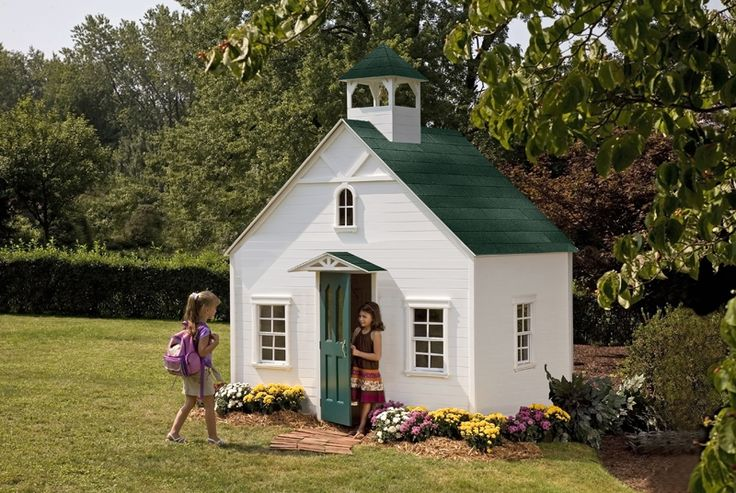 "Red Apple Schoolhouse Base: 88"" wide x 69"" deep Loft: N/A  Bottom of base to peak: 99""  Bottom of base to top of bell tower: 125""  Floor to bottom of loft: 52""  Door Height: 48""  Wall Height: 56""  Playhouse Colors: White and Green"