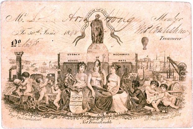 Sydney Mechanics' School of Arts membership card from 1848