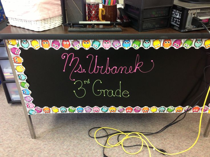 Front of teacher desk.  Does Kelsey need a stick on chalk board and some liquid chalk for her office?