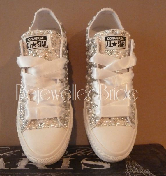 Wedding Converse all white Mono's Crystal & by BejewelledBride