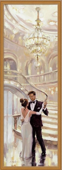 A Moment in Time, framed art print home decor at Steve Henderson Collections, inviting you the join the dance, see the glitter of the ballroom chandeliers, and join in the music and the waltz of love.