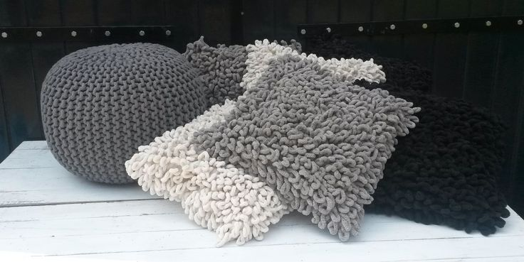 Poef gehaakt grijs » leuke betaalbare woonaccessoires, meubels,woondecoratie