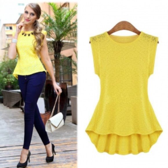 Yellow Peplum Top Yellow peplum top. The fabric has a sort of lace design to it. It is a high-low shirt style. It is an Asian XL/ US L. See chart for more measurements, but the top is a true US L 12. Tops