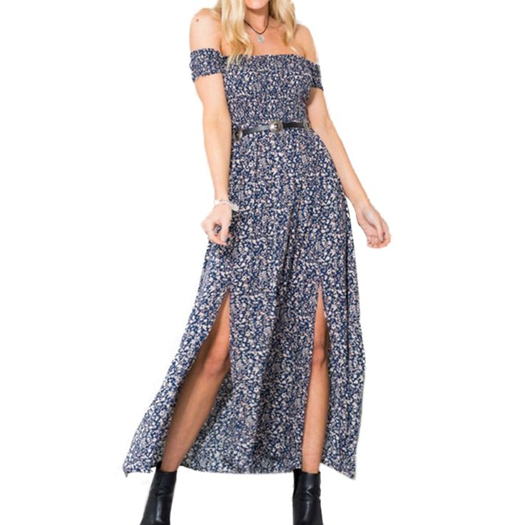 Summer 2016 Plus Size Vintage Women Summer Off Shoulder Print Sexy Dress Club Party Pleated Dresses Open Split Maxi Long Dress -in Dresses from Women's Clothing & Accessories on Aliexpress.com | Alibaba Group