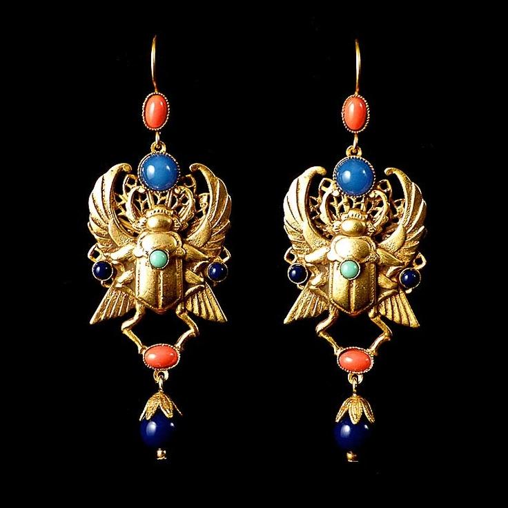 Askew London Winged Scarab Egyptian Earrings