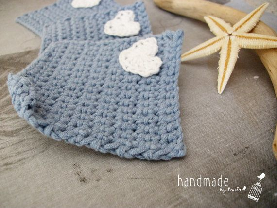 Crochet Face Scrubbies  Set of 3 square shape by HandmadeByToula, €2.10