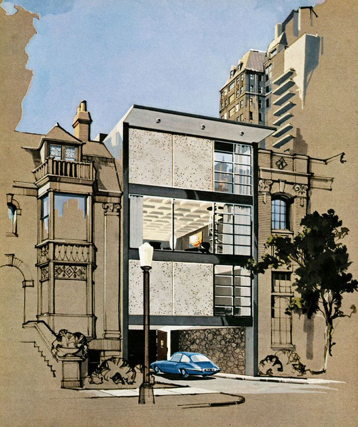 """""""The Playboy Town House: Posh Plans for Exciting Urban Living,"""" Playboy May 1962 issue. Designed by architect R. Donald Jaye, gouache and ink rendering by Humen Tan; one sold at Christie's in 2003 for more than $10,000."""