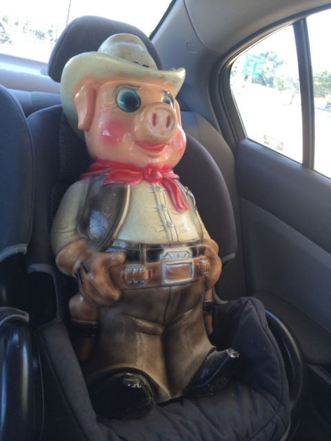 Vintage Chalkware Piggy Bank Cowboy Sheriff Pig 26 Tall