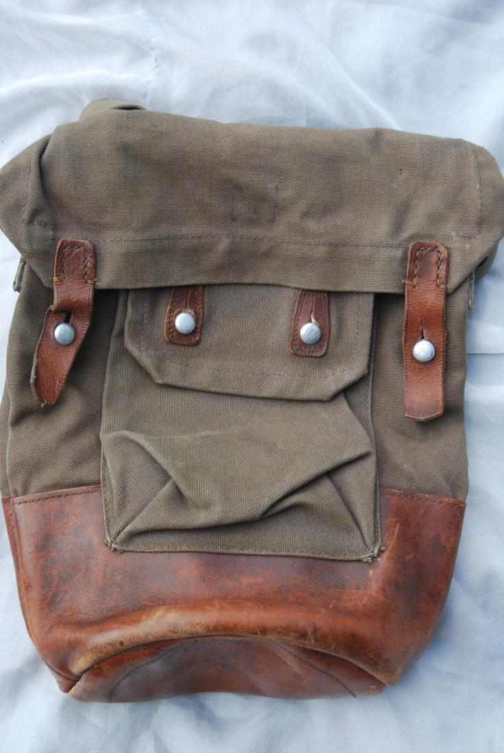Vintage Military Bag Leather Bag Army 1950s Khaki