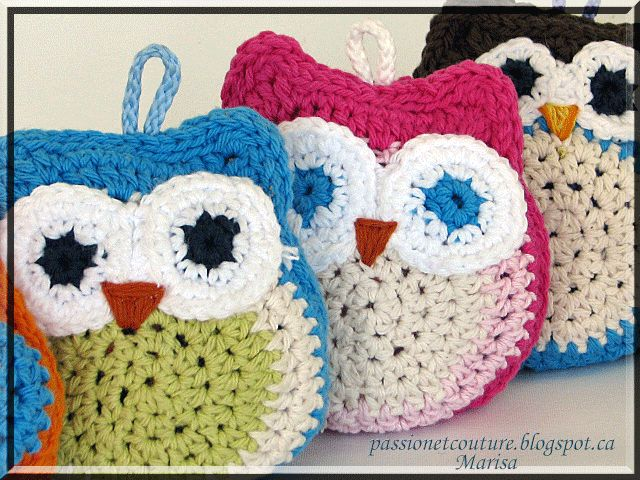 Passion et Couture: Crochet owls made from a free pattern...