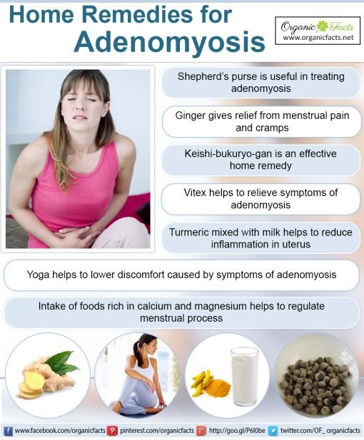 The home remedies for adenomyosis include sheperd's purse, vitex, Keishi-bukuryo-gan, ginger, turmeric, calcium, and magnesium, as well as aromatherapy, warm baths, heating pads, and yoga.