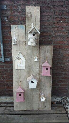steigerhout vogelkooi bord diy baby room driftwood babykamer meisje birds
