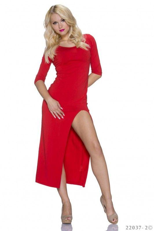 Rode maxi dress met split aan de zijkant