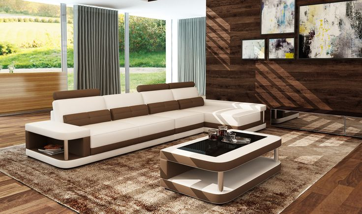 Divani Casa 5134B Modern White & Brown Bonded Leather Sectional Sofa