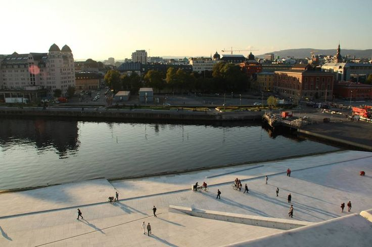 On the roof of the Opera House in Oslo, Norway