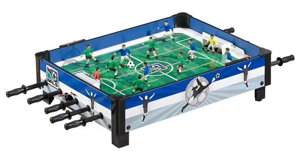 This exclusive MLS Soccer Table offers exciting MLS action at a great price! This durable table top soccer plays with smooth action. Strong, L-shaped legs with non-marking pads protect floors and furniture. Quality features, smooth gliding rods and exclusive MLS markings make this game a keeper for anyone. #foosball #tabletopsoccer #MLS #soccerfan #gametable #gameroom #familyfun #recroom #mancave #basement #indoorfun #christmas #christmasgift