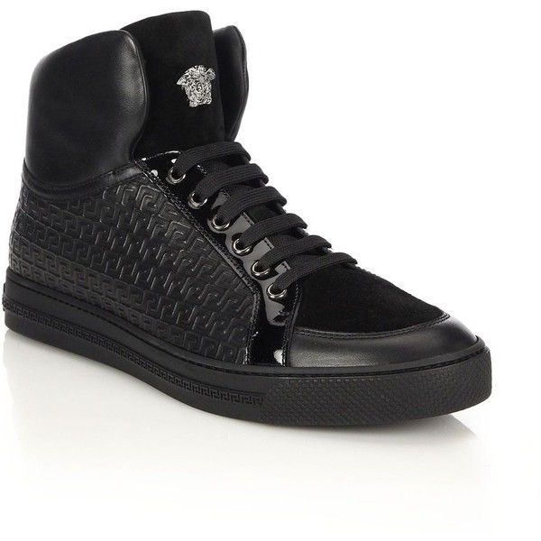 Versace Grecca Embossed Leather & Suede High-Top Sneakers : Versace... ($850) ❤ liked on Polyvore featuring men's fashion, men's shoes, men's sneakers, apparel & accessories and black