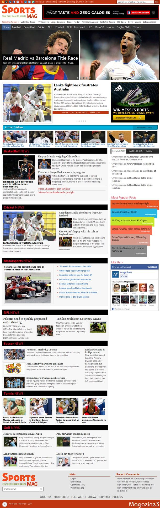 SportsMag WordPress Theme is a sports magazine style premium WordPress theme from Magazine3. The heavy content friendly theme is designed for sports news portal or it can be used in any other online magazine website. The content focusing theme includes features such as responsive design that adopts screen resolution of tablet, smartphone or desktop, custom widgets with 7 widgets area, built in lightbox effect for image, easy to use shortcodes, featured article slider on the homepage