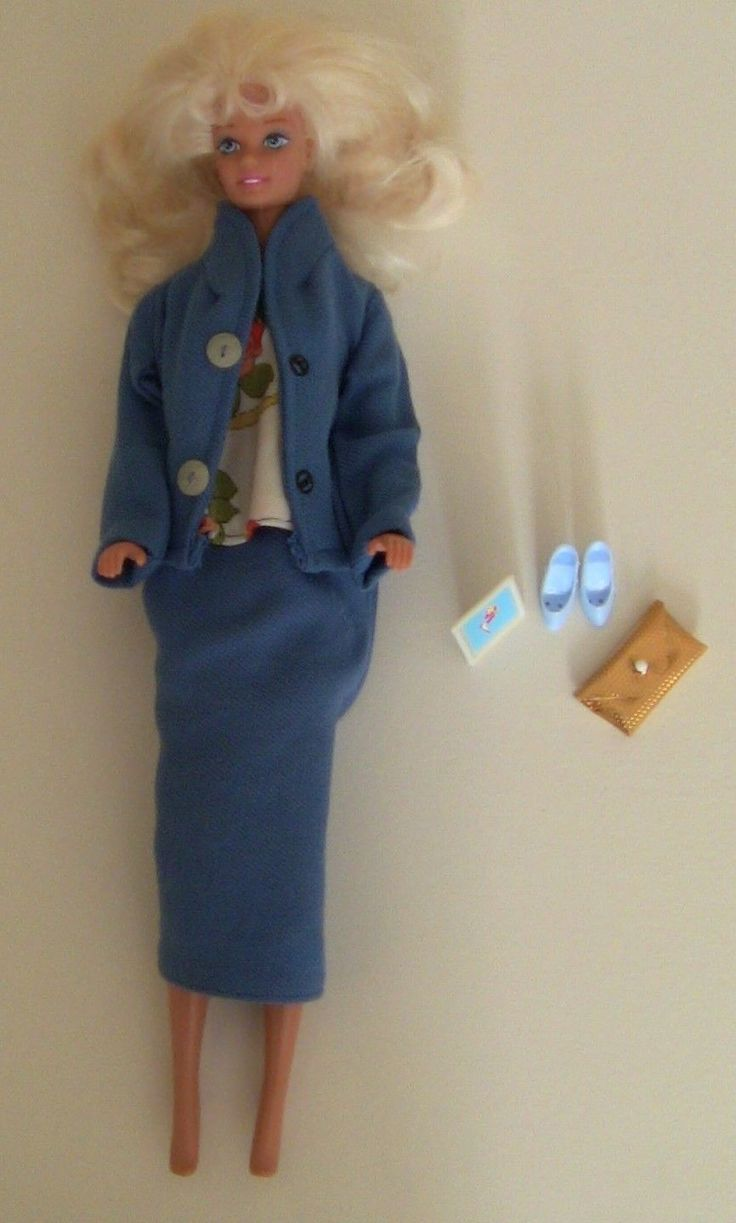 Fashion Doll Business Suit Barbie Clothes Blue Coat Skirt with Flower Shirt 11 5 | eBay