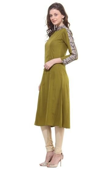 LadyIndia.com #Kurtis, Stylish Cotton Green Kurti For Women, Kurtis, Kurtas, Cotton Kurti, https://ladyindia.com/collections/ethnic-wear/products/stylish-cotton-green-kurti-for-women