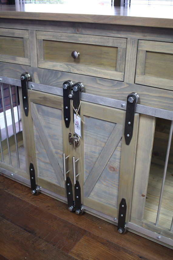 Rustic Dog Crate With Drawers Sliding Barn Doors Crate Etsy In
