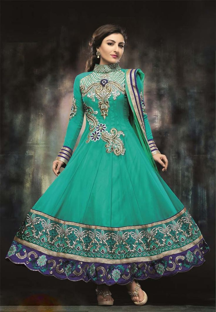 Floor touch firozi anarkali with collar set embroidered for Floor touch gown