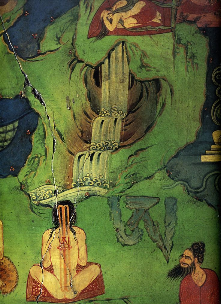 "Yogis focus their attention on the sound of a waterfall, integrating the cascade of moving water with the element of water, or fluidity, within their own bodies. The letter ""AH"" visualized at the centre of the yogis's body is refected by the external apparition of a large watery ""AH"" to the right symbolizing the mind's Primordial State. Through contemplative practices the mind opens to its essential nature and is no longer carried away by false views. As the Buddha stated."