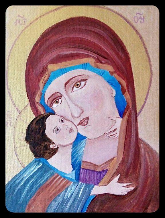 Obraz malowany wg Włodzimierskiej Ikony Matki Bożej