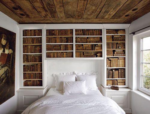 Book shelves.: Dreams Bedrooms, Bookshelves, Idea, Built In, Books Shelves, Wood Ceilings, Books Nooks, Guest Rooms, Old Books