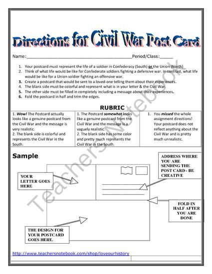 Civil War Postcard Project from Love Our History on TeachersNotebook.com (2 pages)