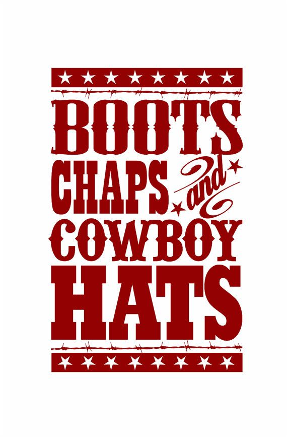 "Cowboy Wall Decal - Boots Chaps Cowboy Hats Western Vinyl Wall Decal for Baby Nursery or Boy's Room 35""H x 22""W Wall Art FS109. $39.00, via Etsy."