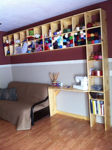 Drooling over these shelves. What perfect yarn/craft stuff storage.