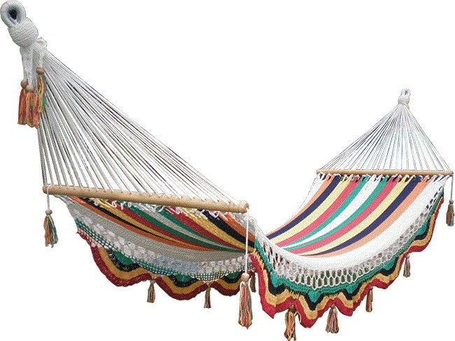 Rainbow hammock. I want to spend all Summer living in a hammock just like this! via Etsy.