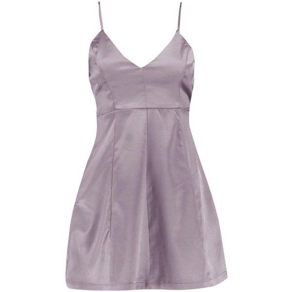 Boohoo Petite Viki Plunge Neck Satin Skater Dress (€29) ❤ liked on Polyvore featuring dresses, skater dress, plunge-neck dresses, purple cocktail dresses, petite dresses and plunging neckline cocktail dress