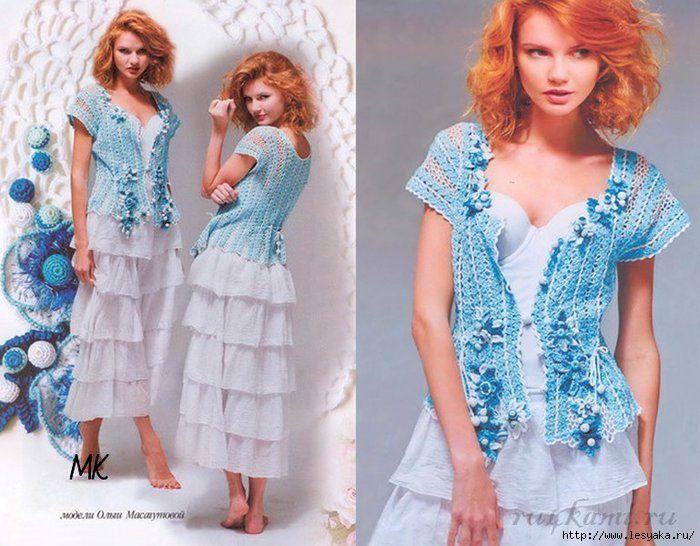 Блузка «Нежная бирюза» Бирюзовая блузка крючком вязаная на 46-48 размер из полос тесьмы. Эта нежная очаровательная блуза украшена не менее очаровательными цветами привлекает своей красотой, воздушностью и женственностью.