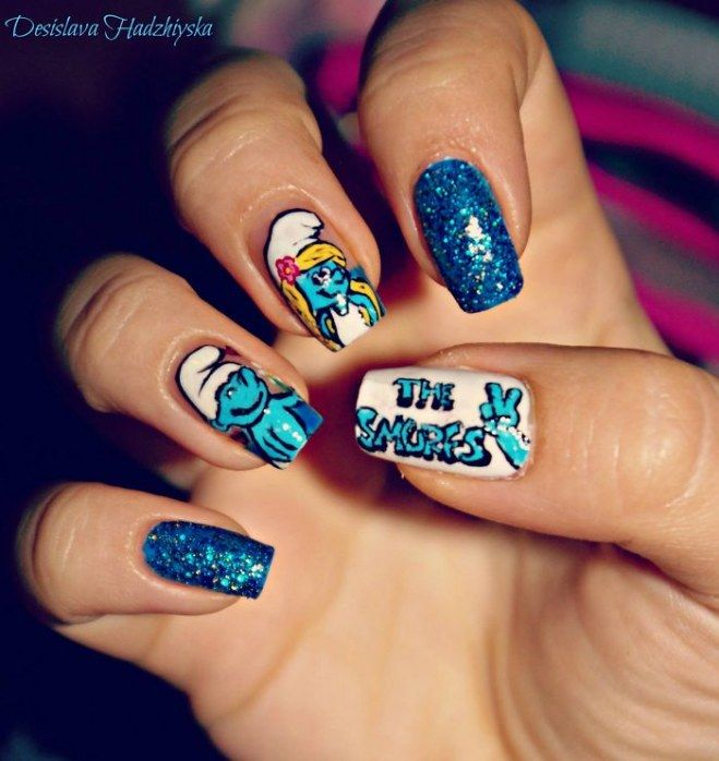 Nail art Os Smurfs