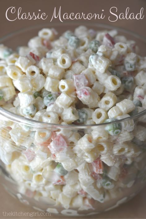 Classic macaroni salad recipe, mostly yogurt dressing for less fat and more protein! Healthy, vegetarian, summer holiday any day salad. thekitchengirl.com