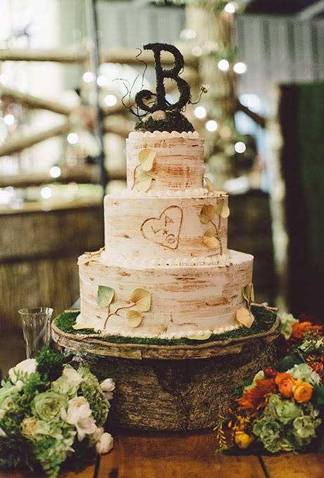 A Three-Tiered, Carved-Tree Wedding Cake with Monogram Topper Fall Wedding Cakes