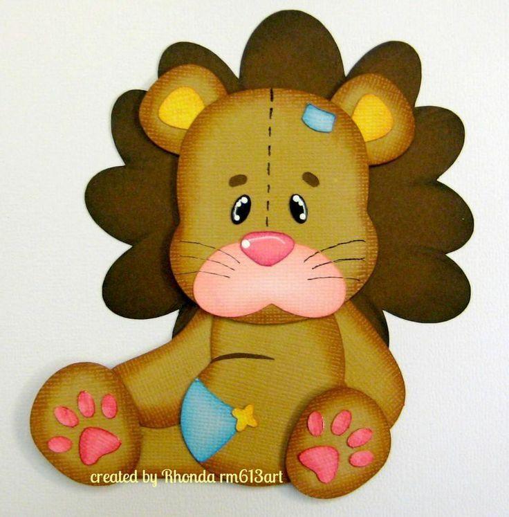 Stuffed Lion boy/girl paper piecing premade scrapbook pages -Rhonda rm613art