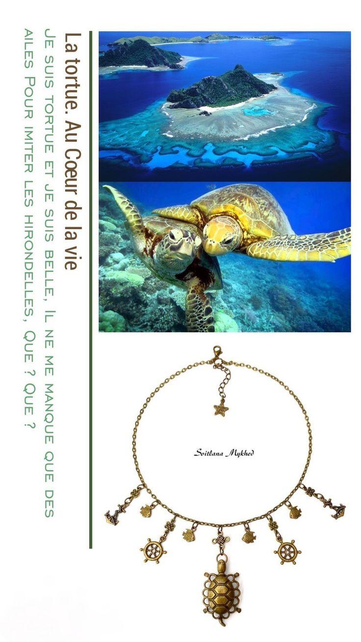 """Collier chaine réglable """"Tortue. Ancré. Mer. Marin. Crabe. Roue de gouvernail. hippocampe. Navire. Bateau. Poisson"""". : Collier par perles-et-couronnes"""