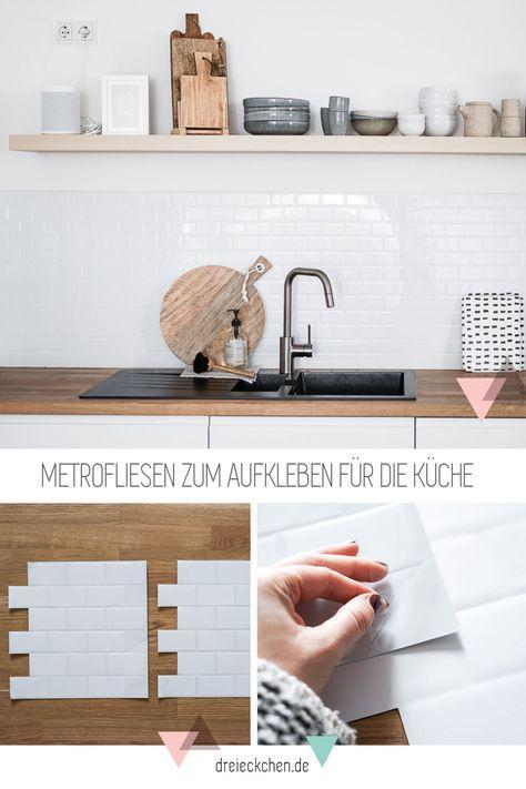 Küchenrückwand aus Fliesenaufklebern: Metro-Fliesen für den Scandi-Look   – Küche