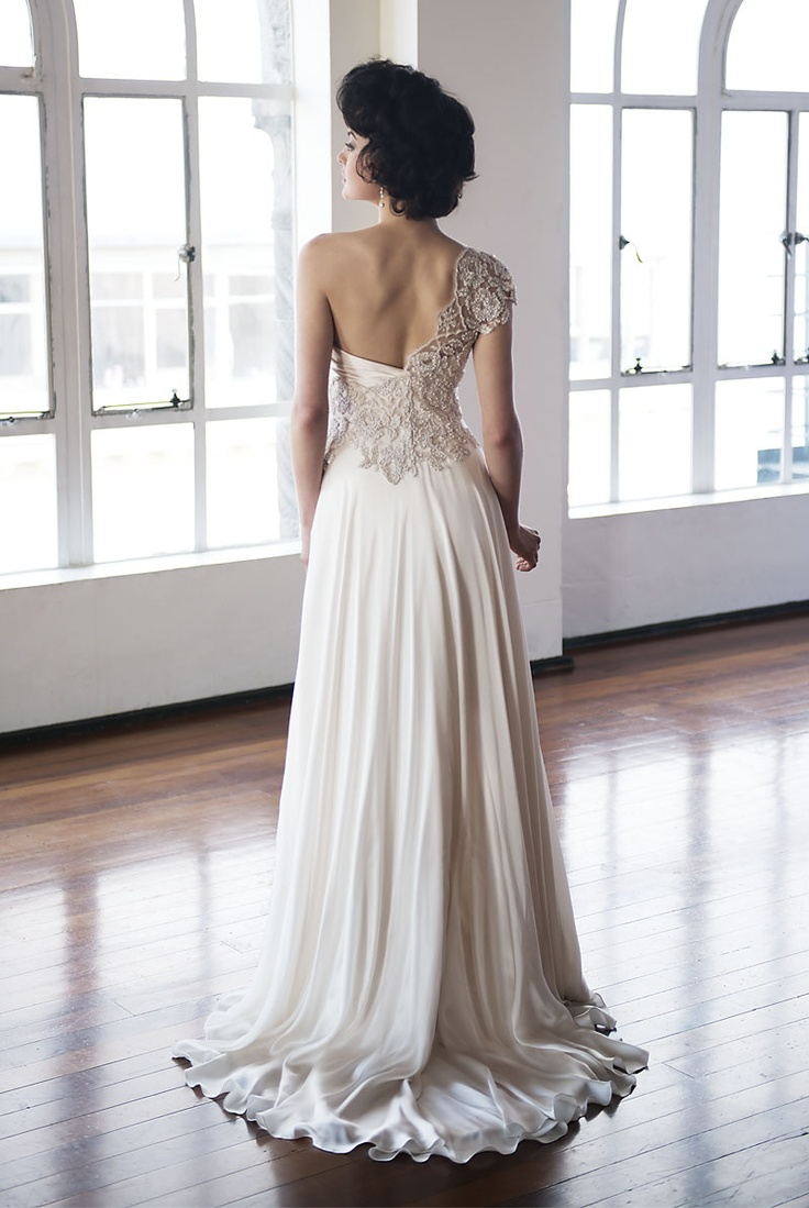 Pearl Wedding Dress :: Pearl Bridal Collection  *love one shoulder detail, how skirt falls on floor*