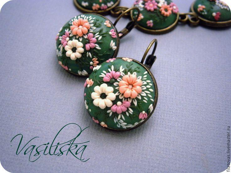 Купить Комплект в технике филигрань - разноцветный, мятный, белый, розовый, коралловый, цветочная филиргань, филигрань