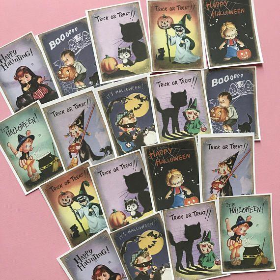 Vintage Halloween Stickers  Set of 18  Handmade Stickers