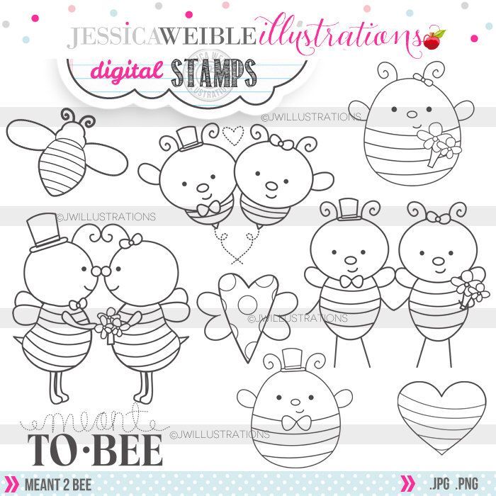 Meant 2 Bee Cute Digital Stamps for Commercial or Personal Use, Bee Wedding Digital Stamp, Bridal Bee Graphics, Meant to Bee Line Art by JWIllustrations on Etsy https://www.etsy.com/uk/listing/198394947/meant-2-bee-cute-digital-stamps-for
