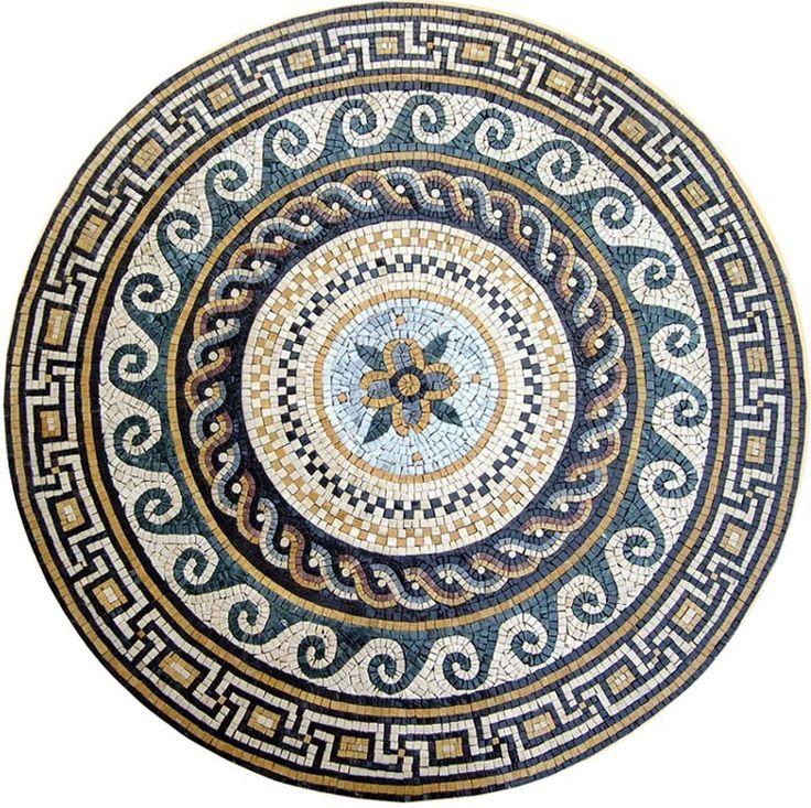 Greco Roman Mosaic Rondure Aelius Ii Mosaic Mosaic